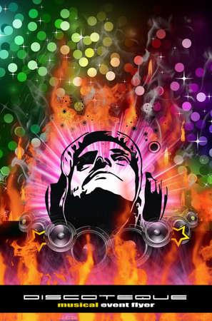 rapero: Fondo de Dj Burning colorida para alternativas volantes de disco de Abstract  Foto de archivo