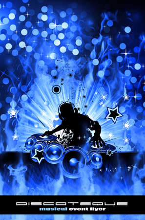 discoteque: Abstract Colorful Burning Dj Background for Alternative Disco Flyers Stock Photo