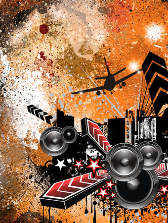 Urban Dirty Grunge Style Disco Flyer Background Stock Photo - 7825389