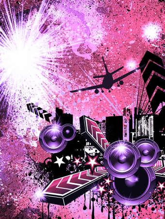 rapper: Urban Dirty Grunge estilo disco volante de fondo  Foto de archivo