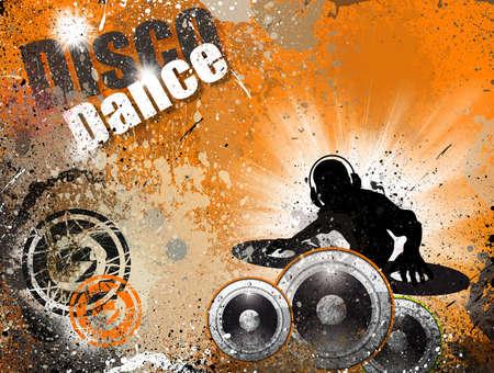 Techno Grunge style DJ Disco Flyer Background photo