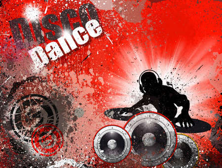 audio mixer: Techno Grunge style DJ Disco Flyer Background