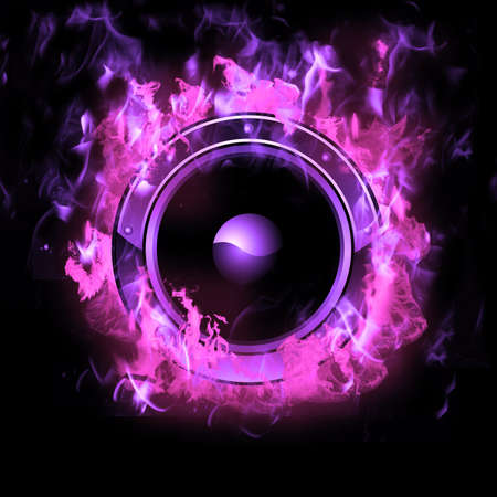 Hot Burning Speaker with real flames effect photo