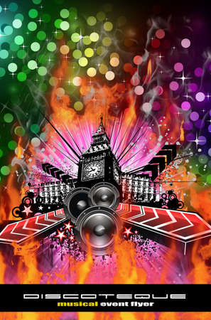 hip hop dancing: Abstract Urban Discoteque Event Background for Flyers Stock Photo