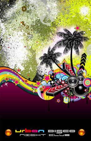 Hot Grunge Tropical Music Event Backgruond for Disco Flyers Stock Photo - 7825390