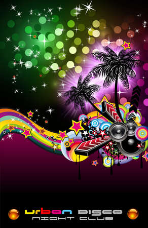 Hot Grunge Tropical Music Event Backgruond for Disco Flyers Stock Photo - 7825342