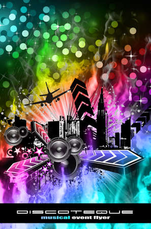 Urban Dirty Grunge Style Disco Flyer Background photo