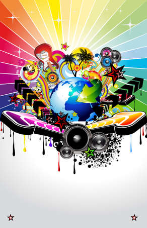 Global Music Event Background with Musical Design elements Vector
