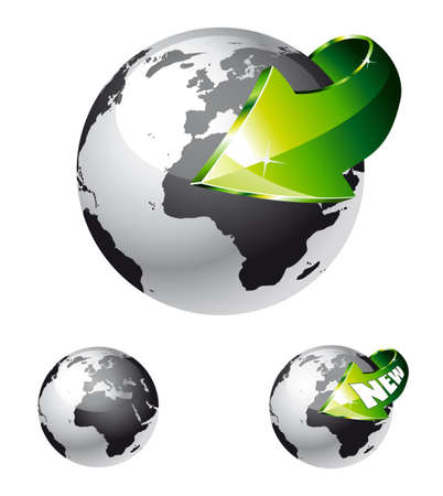 3d Style Earth Globe with an Arrow showing a recycle concept Vector