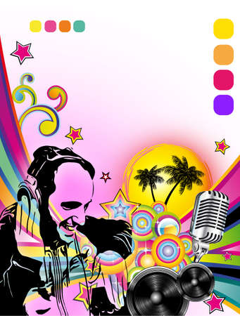 disk jockey: Disk Jockey Shape in colorful Music Contest Background for Disco Flyers