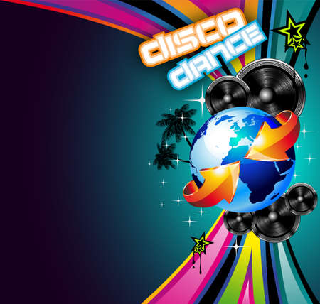 International Disco Event Background with Musical Design elements Vector