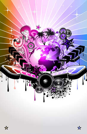Urban Colorful Discoteque Event Background with abstract music elements Vector