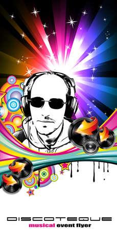 flyer background: Abstract Music Disco Flyer achtergrond voor speciale avond evenementen Stock Illustratie