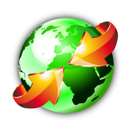 3d Style Earth Globe with an Arrows showing a recycle concept Vector