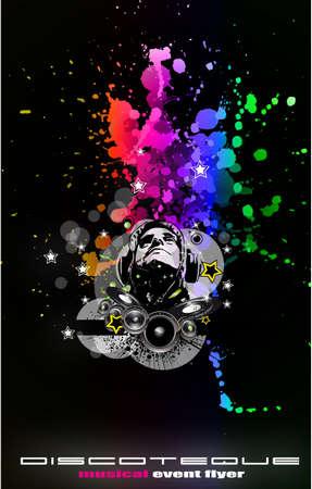 abstract music: Abstract Music Disco Flyer achtergrond voor speciale avond evenementen