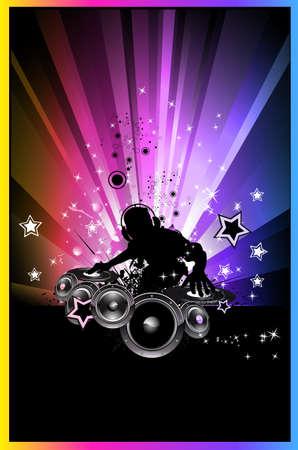 party dj: R�sum� Contexte color� de discoth�que pour d�pliants  Illustration