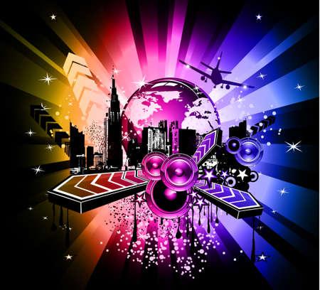 baile hip hop: Urbano colorida fondo de evento de discoteca con elementos de m�sica abstracta