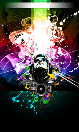 disk jockey: Alternative Discoteque Music Flyer with Attractive Rainbow Colours Illustration