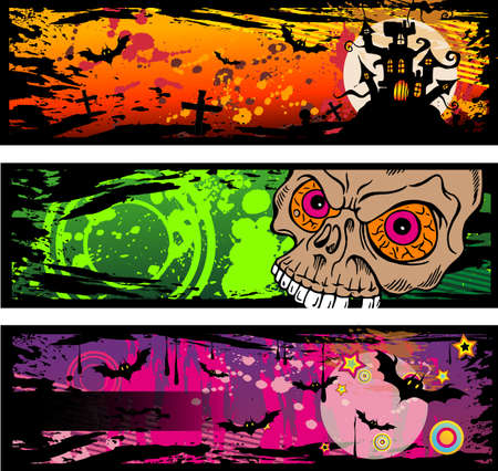 Halloween Grunge Style Banners With Horror Design Elements Stock Vector - 8002068
