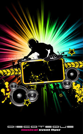 dj: Alternative Discoteque Music Flyer with Attractive Rainbow Colours Illustration