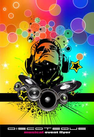 jockeys: Rainbow Disco Flyer with Disk Jockey Suggestive shape Illustration
