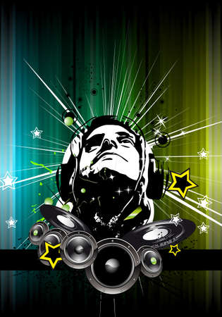 disk jockey: Abstract Colorful Background for Musical Event Flyer