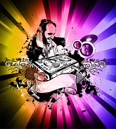scheibe: Abstrakt Grungy Old Vintage Style Disco Flyer mit einer Menge von Design-Elemente