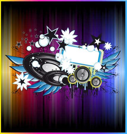 Grunge Disco dans kleurrijke achtergrond voor folders