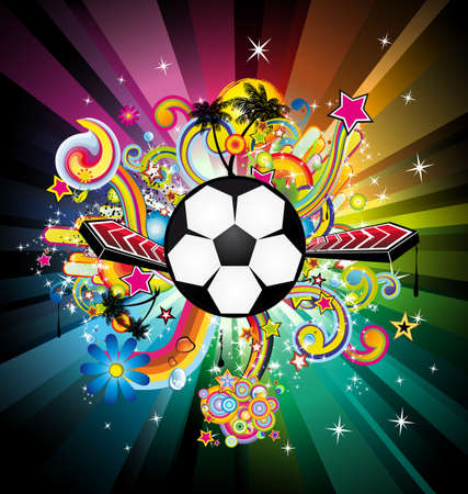 competitive sport: Abstrac World Football ChampionShip Disco Party Flyer Background Illustration
