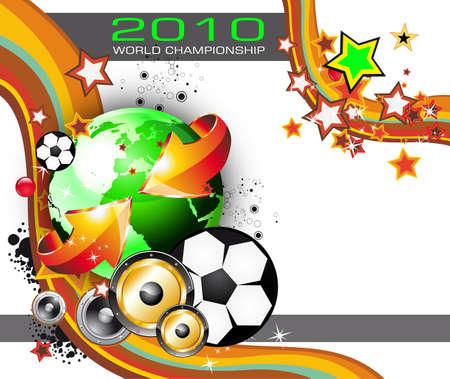 flyer musique: Abstract color� monde Football Championship 2010 arri�re-plan pour partie Flyers Illustration