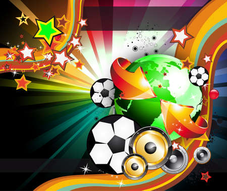 professional sport: Abstract Colorful World Footbal Championship 2010 Background for Party Flyers