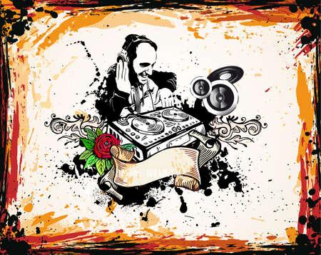 disk jockey: Astratto Grungy Old Vintage Style Disco Flyer con un sacco di elementi di design Vettoriali