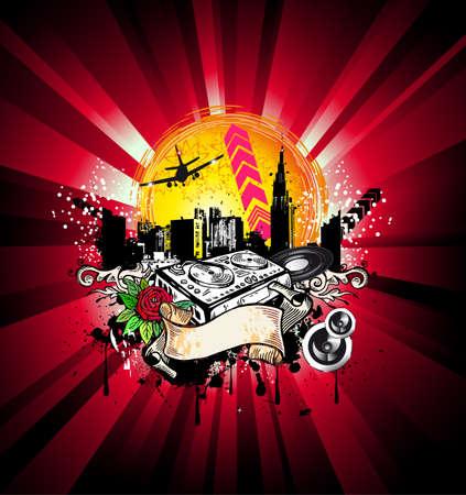 disk jockey: Citt� di abstract grunge disco sfondo per musica Flyer