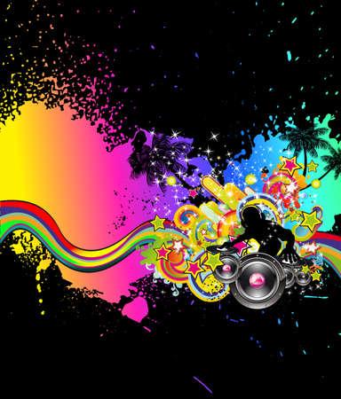 stereo: Arri�re-plan de disco pour le style grunge  Illustration