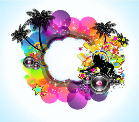 Tropical Music and Latin Disco Event Background for Flyers Vector