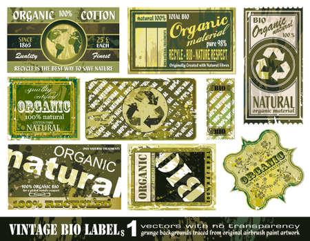 BIO Vintage etiquetas colección con estilo grunge 9 pegatina fondos - 1 Set Ilustración de vector