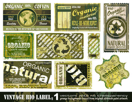 organic background: Vintage BIO labels collection with 9 grunge style sticker backgrounds - Set 1 Illustration