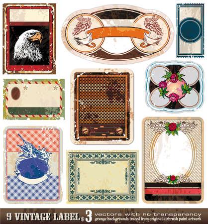 Vintage Labels Collection - 9 design elements with original antique style -Set 3 Stock Vector - 8310235