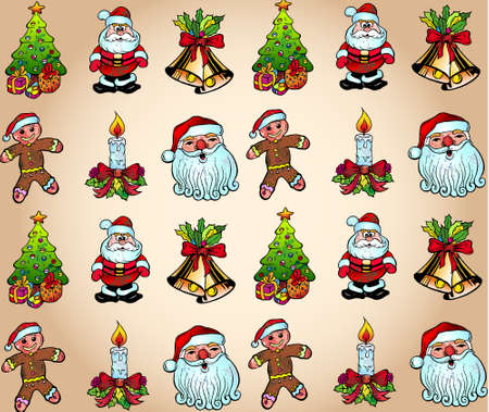 Seamlessly Christmas Wallpaper with Various Design Elements Vector