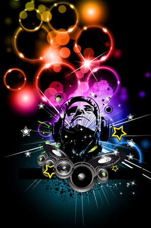 flyer musique: Prospectus de discoth�que musique alternative avec couleurs attrayantes de Rainbow