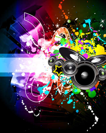 Alternative Discoteque Music Flyer with Attractive Rainbow Colours Stock Vector - 8310179