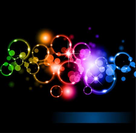 Abstrakt glühenden Kreise der Llight mit Raibow Farben Hintergrund