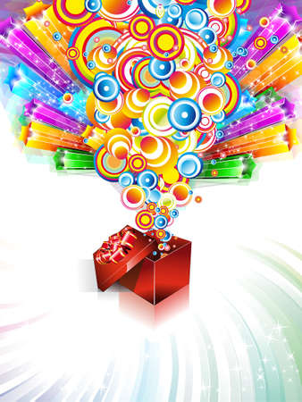 Birthday or Christmas Gift Card with an Explosion of Stars Vector