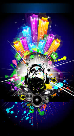 Alternative Discoteque Music Flyer with Attractive Rainbow Colours Stock Vector - 8310255