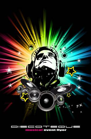 Alternative Discoteque Music Flyer with Attractive Rainbow Colours Vector