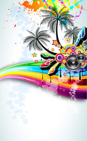 Tropical Disco Dance Background with music and fantasy design elements Stock Vector - 8427661