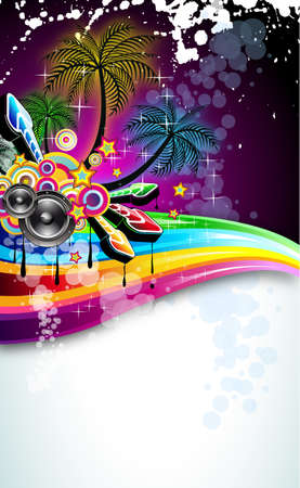 Tropical Disco Dance Background with music and fantasy design elements Vector