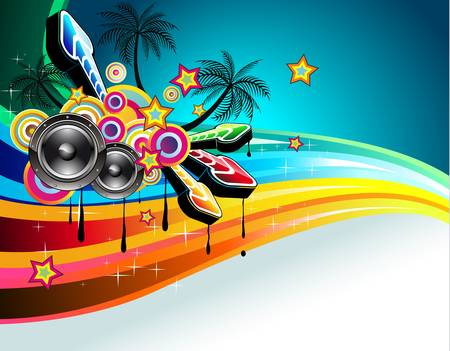 Tropical Disco Dance Background with music and fantasy design elements Stock Vector - 8427668