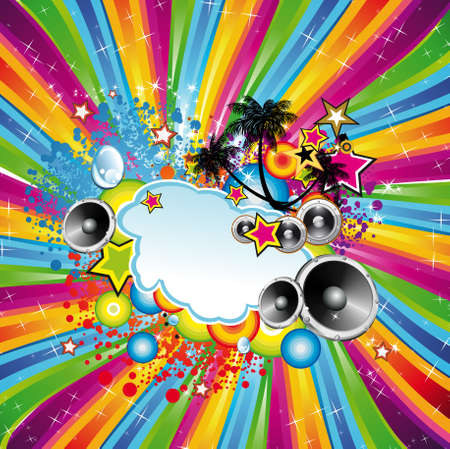 Tropical Disco Dance Background with music and fantasy design elements Stock Vector - 8433100