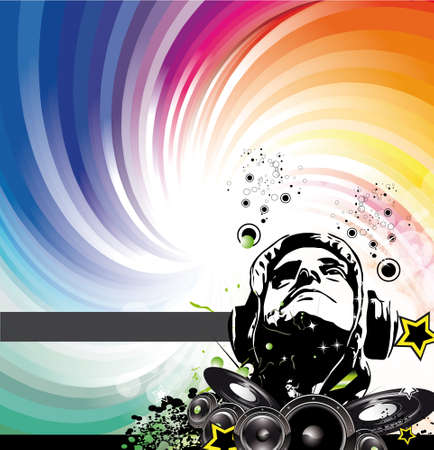 Abstract Colorful DJ Disco Flyer with Rainbow Colours Illustration